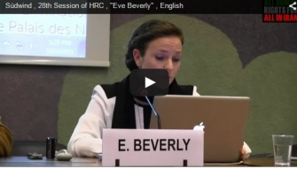 "Südwind , 28th Session of HRC , ""Eve Beverly"" , English"